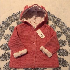 Baby Gap Floral Lined Sweater Jacket Bear 3-6M NWT